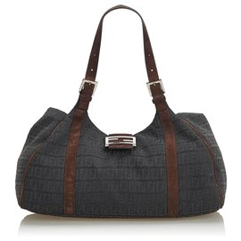 Fendi-Fendi Black Zucchino Jacquard Shoulder Bag-Brown,Black,Dark brown