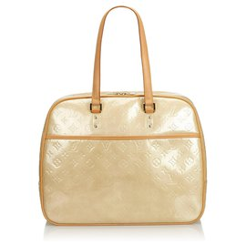 Louis Vuitton-Louis Vuitton Brown Vernis Sutton-Brown,Beige