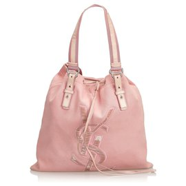 Yves Saint Laurent-YSL Pink Canvas Kahala Tote-Pink