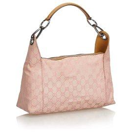 Gucci-Gucci Pink GG Jacquard Handbag-Brown,Pink