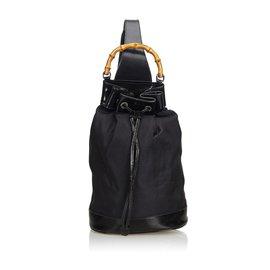 Gucci-Sac à dos à cordon en toile de bambou noir Gucci-Noir