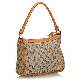 Gucci-Gucci Brown GG Canvas Shoulder Bag-Brown