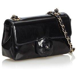 Chanel-Chanel Black Camellia Patent Leather Crossbody. Bag-Black