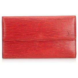 Louis Vuitton-Louis Vuitton Epi Porte Rouge Trésor International-Rouge