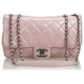 Chanel-Chanel Pink Quilted calf leather Pleated Chain Flap Bag-Pink