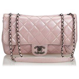 Chanel-Sac Chanel Flap en cuir de veau matelassé rose-Rose