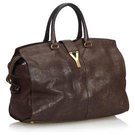 Yves Saint Laurent-YSL Brown Leather Cabas Chyc Handbag-Brown,Dark brown