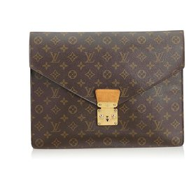 Louis Vuitton-Louis Vuitton Brown Monogram Porte Documents Senateur-Brown