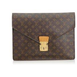 Louis Vuitton-Louis Vuitton Porte Monogramme Marron Documents Sénateur-Marron