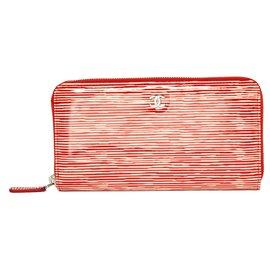 Chanel-CORAIL PATENT-Rouge,Écru