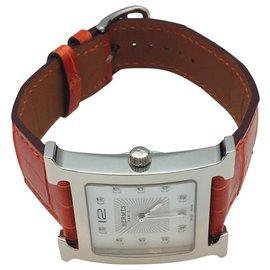 """Hermès-Hermes Uhrenmodell """"Hour H"""" sehr großes Modell, Stahl auf Leder.-Andere"""