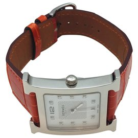 """Hermès-Hermès watch model """"Hour H"""" very large model, steel on leather.-Other"""