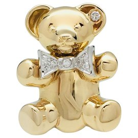 """inconnue-Pendant, Brooch """"Bear"""" two golds and diamonds.-Other"""
