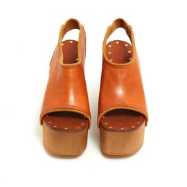 Céline-LEATHER WOOD FR37.5 NEW-Caramel