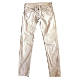 low priced e6b86 4dd4d Jeans Fornarina gray beige with low waist rhinestones T.27 (36-38)