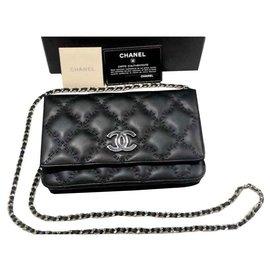 Chanel-Portefeuille Chanel Noir sur Chaîne-Noir