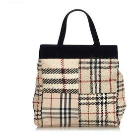 Burberry-Burberry Brown House Check Wool Handbag-Brown,Multiple colors,Beige