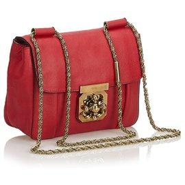 Chloé-Chloe Red Leather Elsie Crossbody Bag-Red,Golden