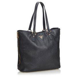 Prada-Prada Black Vitello Daino Tote Bag-Black
