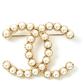 Chanel-LARGE CC PEARLS-Doré