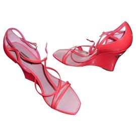 Louis Vuitton-Wedge sandals-Pink