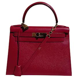 Hermès-Kelly Sellier Hermes Red Gold Hdw Handtasche-Rot