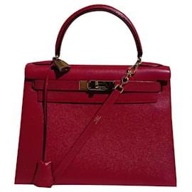 Hermès-Sac à main Kelly Sellier Hermès Rouge Vif Gold Hdw-Rouge