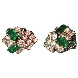 Christian Dior-Very nice pair of ear clips, Brand Christian Dior .(dating from around 1960/70)-Dark green