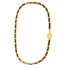Chanel-CLASSIC BLACK GOLD T75/80-Black,Golden