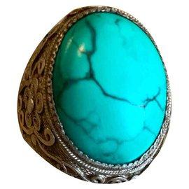 Vintage-Ringe-Silber,Türkis