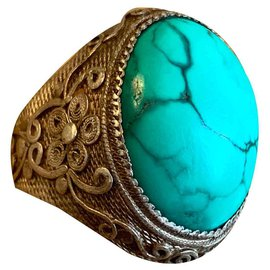 Vintage-Rings-Silvery,Turquoise