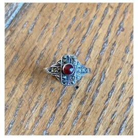 Vintage-Ringe-Silber,Rot