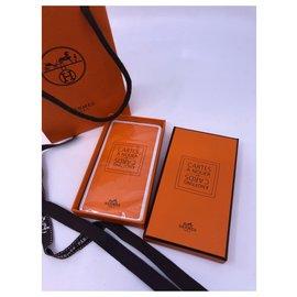 Hermès-Carte a nouer-Blanc,Orange