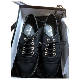 Chanel-Chanel Black lace-up espadrille shoes EU37.5-Black