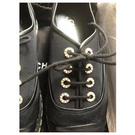 Chanel-Chanel Schwarze Espadrille-Schnürschuhe EU37.5-Schwarz