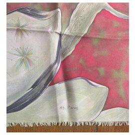 Vintage-Seiden Schals-Rot,Creme