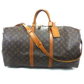 Louis Vuitton-KEEPALL 55 BANDOULIERE MONOGRAM-Marron