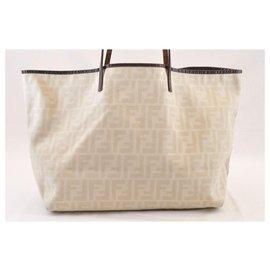 Fendi-Fendi Zucca Tote Bag-White