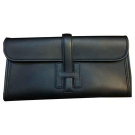 Hermès-Hermes Black Jige cutch bag-Black
