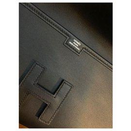 Hermès-Sac Hermes Black Jige cutch-Noir