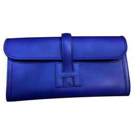 Hermès-Hermes Blue Electric Jige Clutch bag-Blue