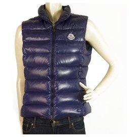 Moncler-Moncler Ghany Giubbotto Blue Puffer Gillet vest Sleevelss jacket front zip sz 1-Blue