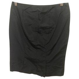 Alexander Mcqueen-Black silk pencil skirt-Black