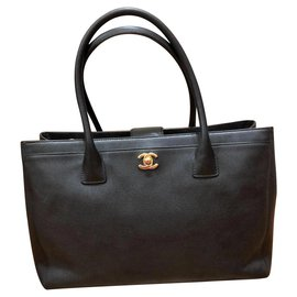 Chanel-Chanel Noir Executive Cerf Tote GHW-Noir