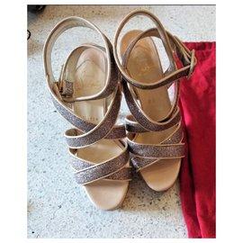 Christian Louboutin-Christian Louboutin criss-cross glitter heels EU36-Other