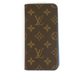 Louis Vuitton-Louis Vuitton-Monogramm mit blauem ledernem Innenraum Iphone 7 Plus Handyhülle-Braun