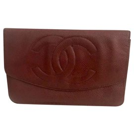 Chanel-Wallets-Dark red