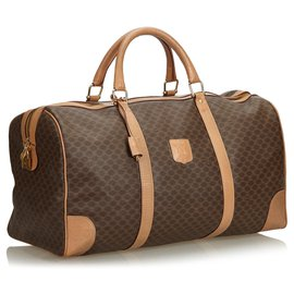 Céline-Celine Brown Macadam Duffle Bag-Brown