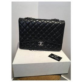 Chanel-Jumbo Timeless-Black,Dark red