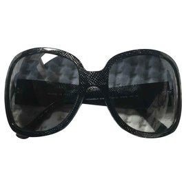Chanel-Sonnenbrille-Schwarz,Blau